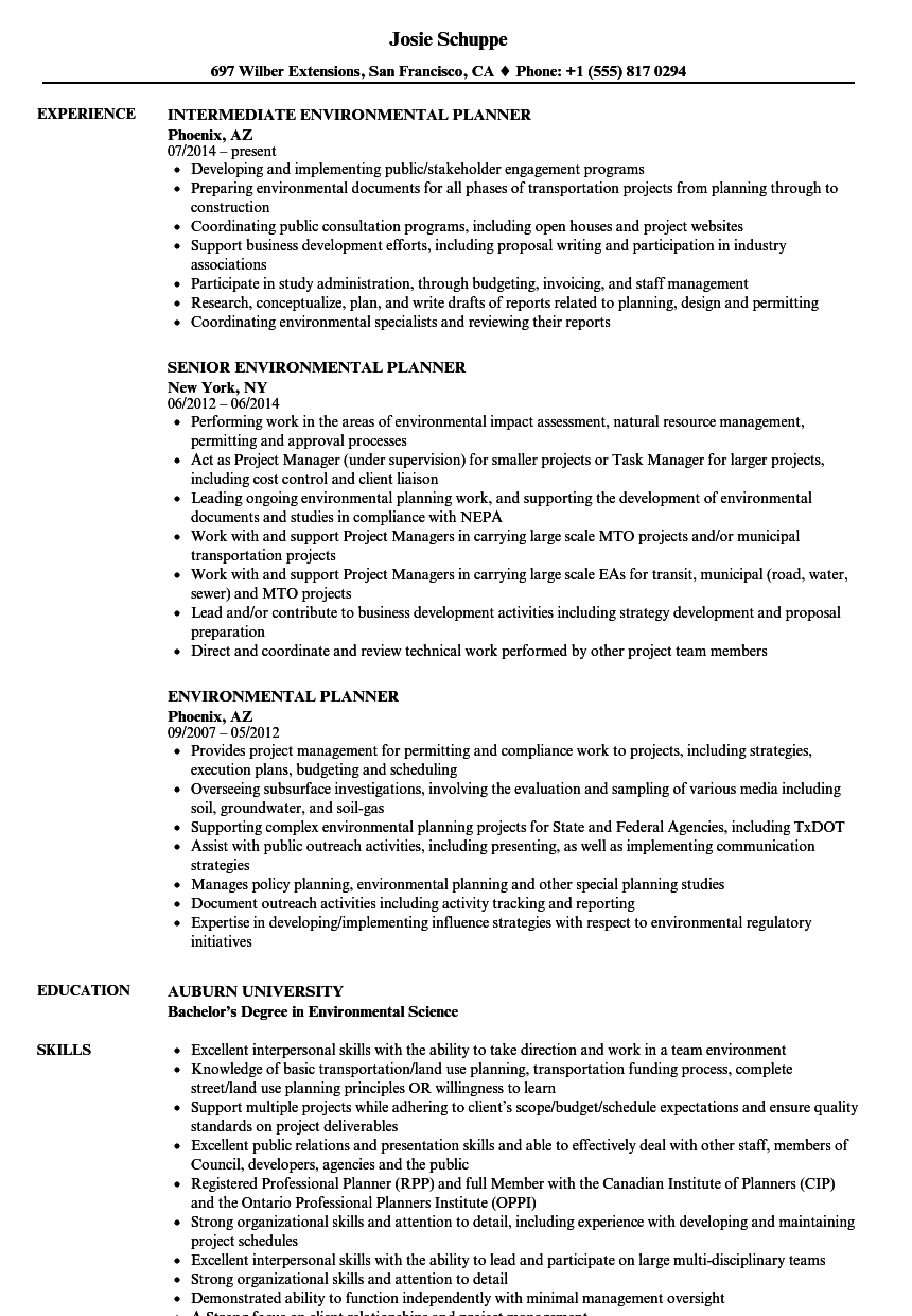 Environmental Planner Resume Samples | Velvet Jobs
