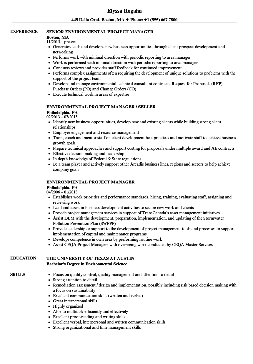 environmental project manager resume samples