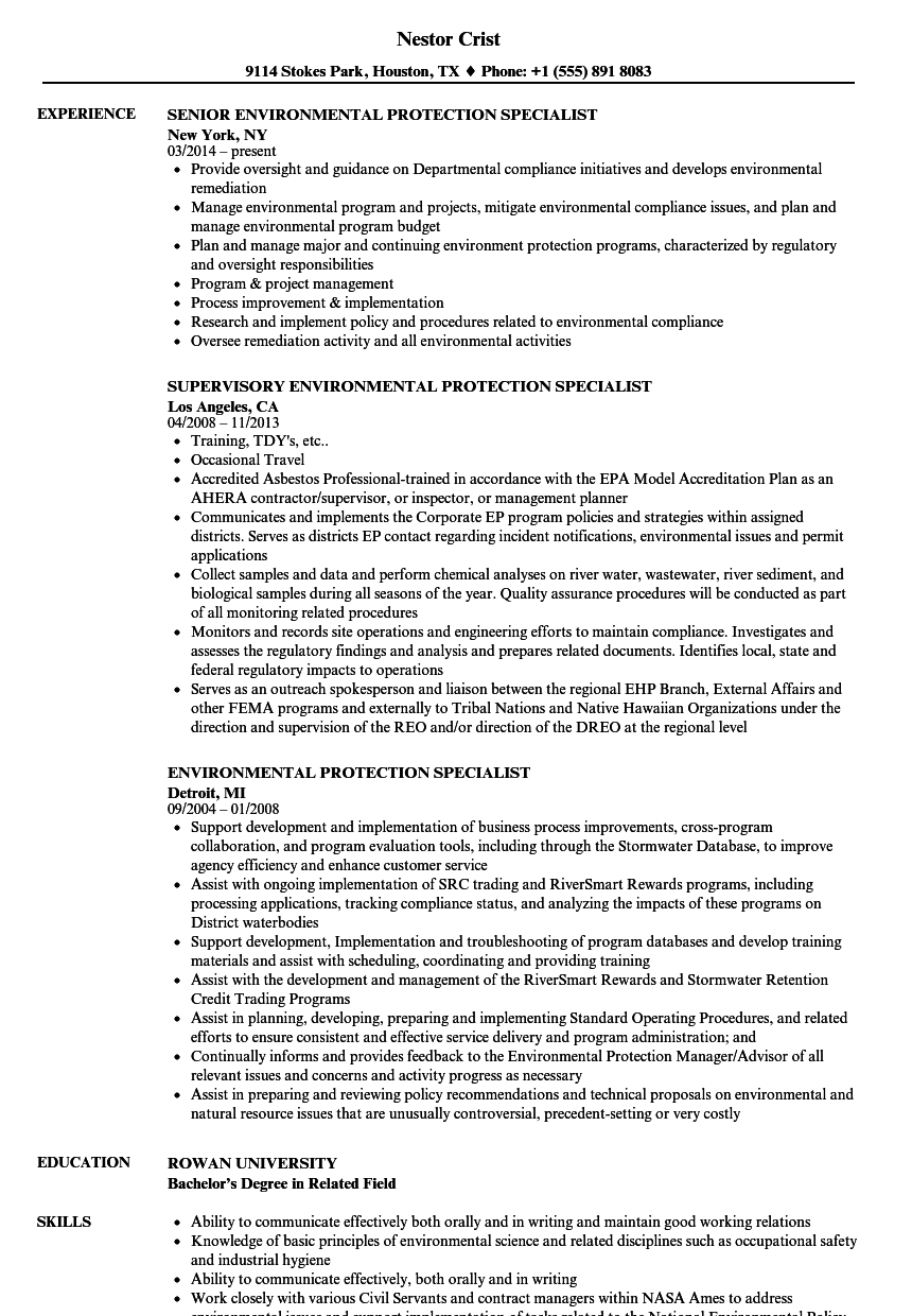 Environmental Protection Specialist Resume Samples | Velvet Jobs