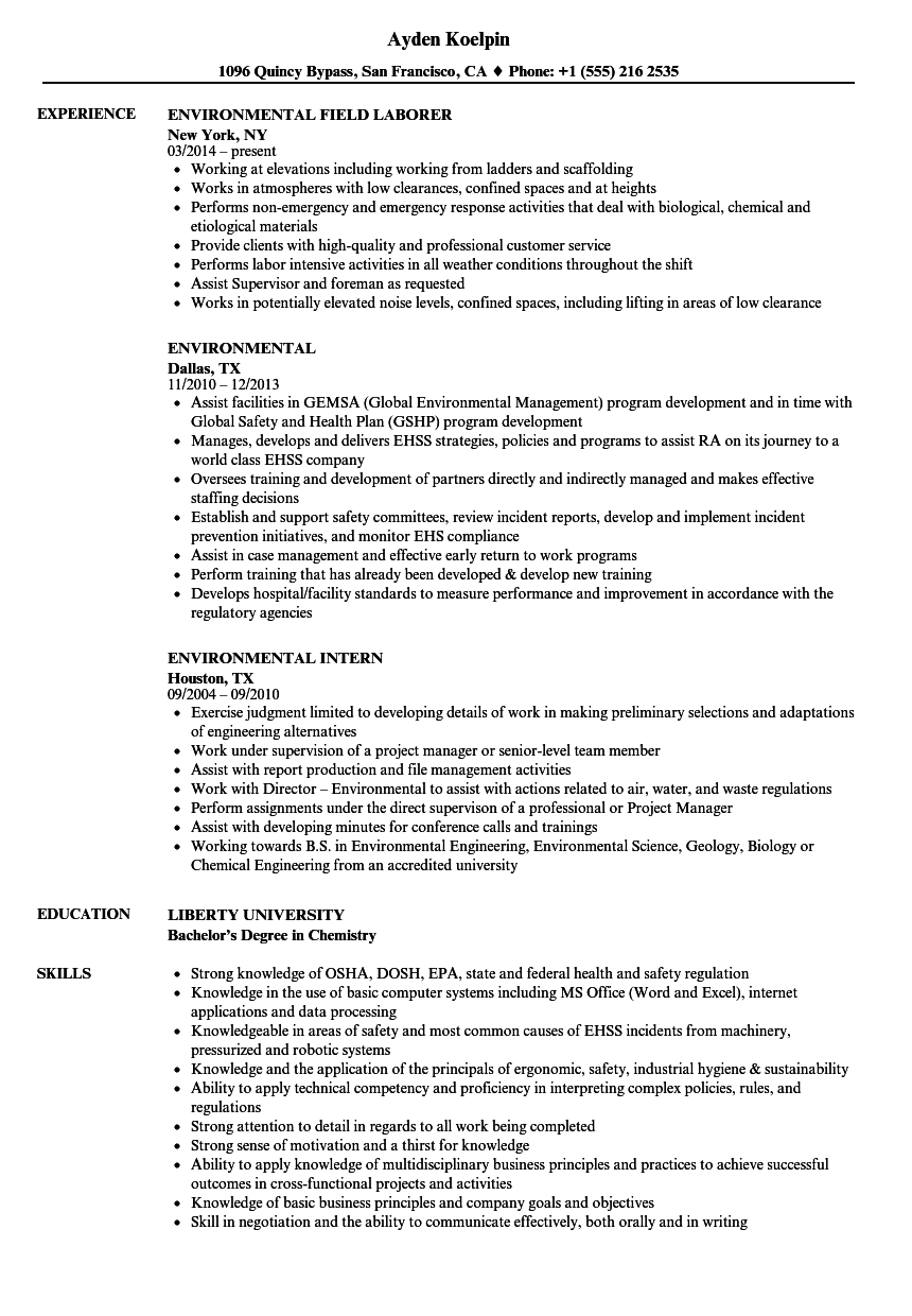 Environmental Resume Samples | Velvet Jobs