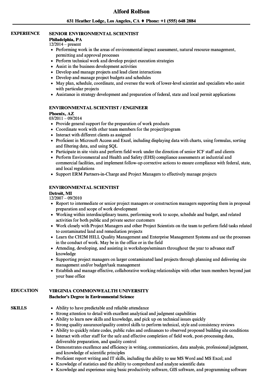 environmental scientist resume samples velvet jobs