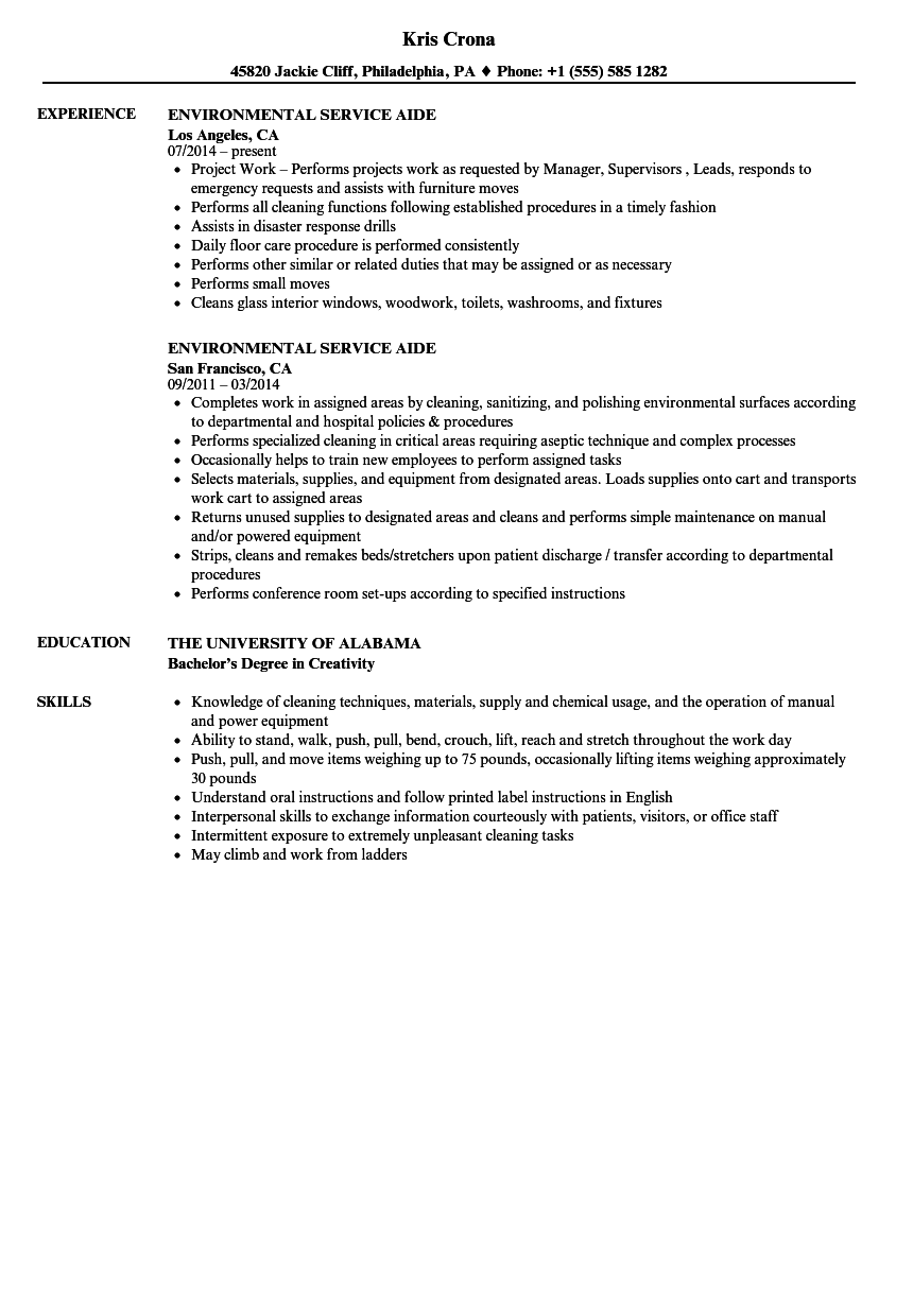 download environmental service aide resume sample as image file - Environmental Service Aide Sample Resume