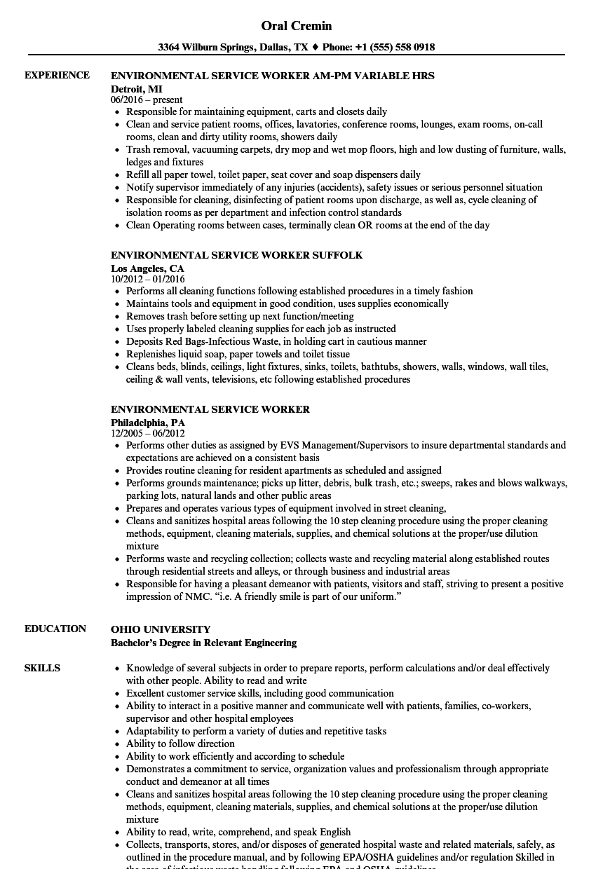 Environmental Service Resume Samples | Velvet Jobs