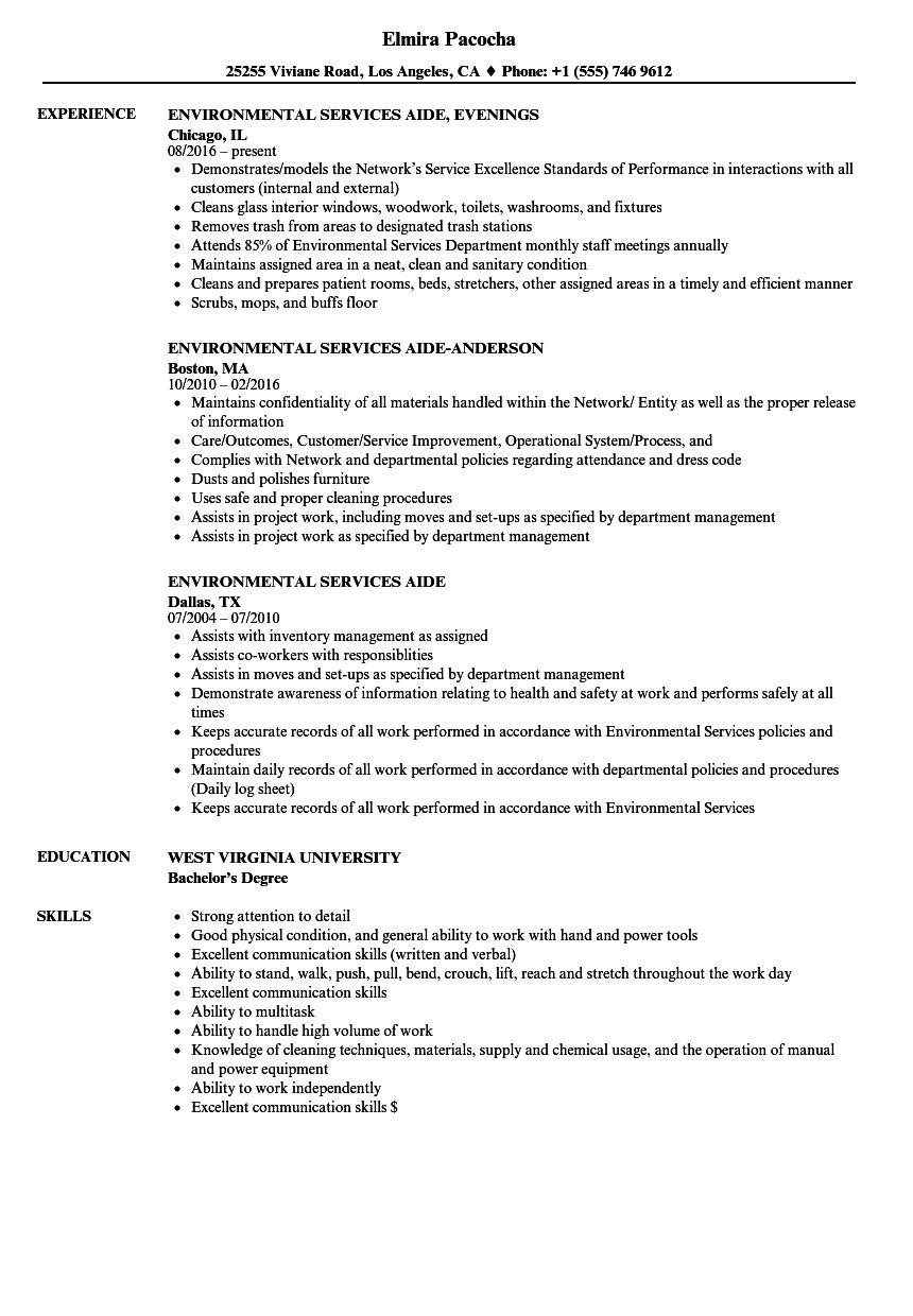 download environmental services aide resume sample as image file - Environmental Service Aide Sample Resume