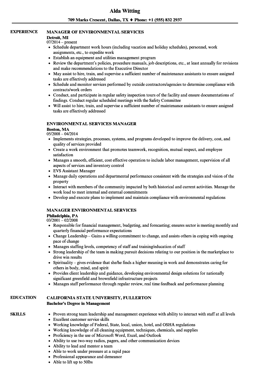 environmental services manager resume samples
