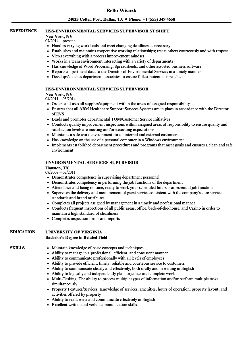 Environmental Services Supervisor Resume Samples | Velvet Jobs