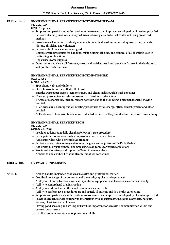environmental services tech resume samples