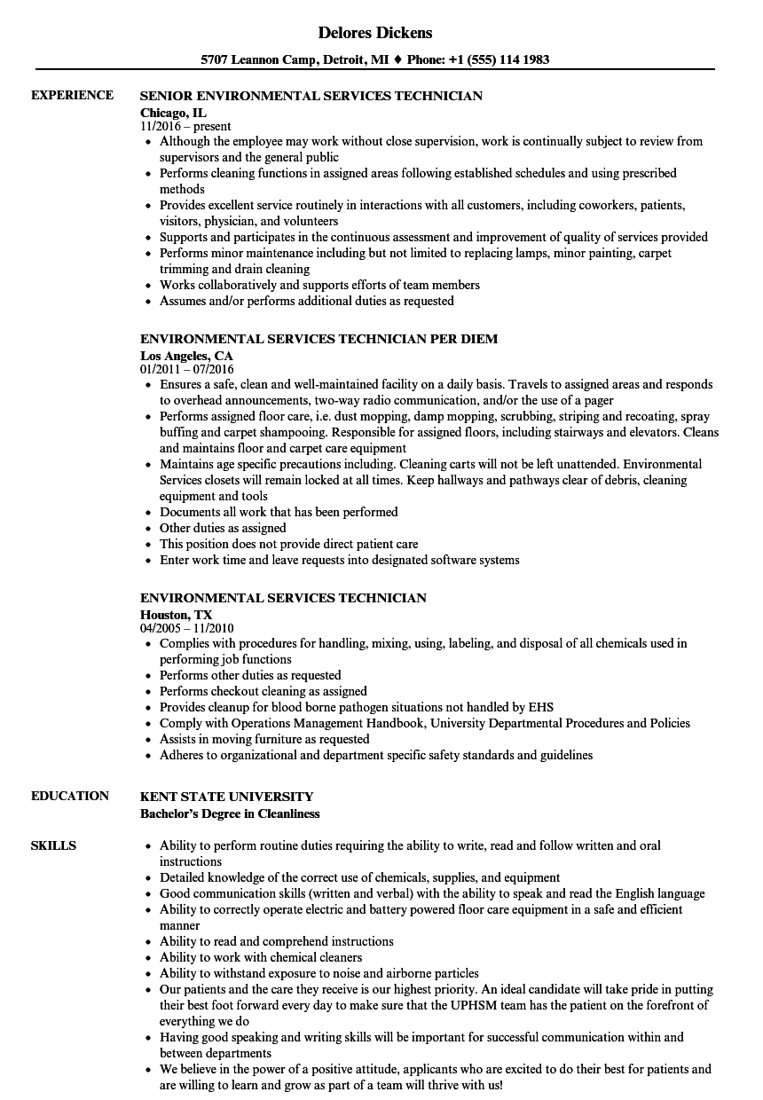 environmental services technician resume samples