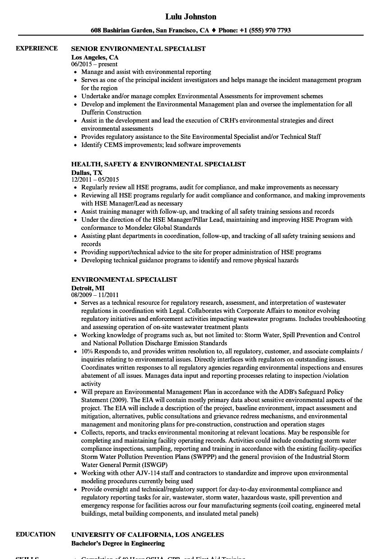 Environmental Specialist Resume Samples | Velvet Jobs