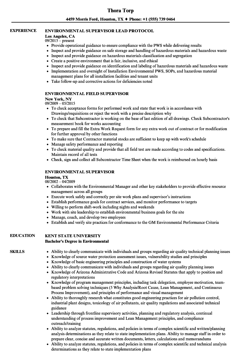 Environmental Supervisor Resume Samples Velvet Jobs