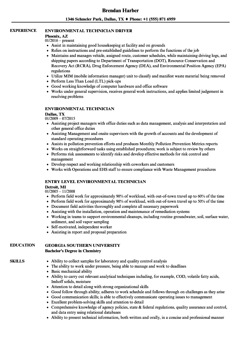 Environmental Technician Resume Samples | Velvet Jobs