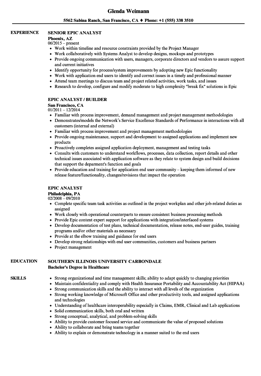 Epic Analyst Resume Samples Velvet Jobs