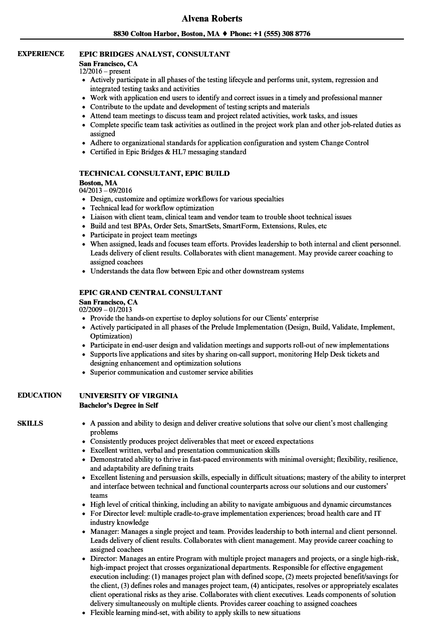 Download Epic Consultant Resume Sample As Image File