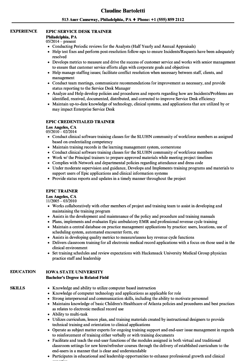 Epic Trainer Resume Samples Velvet Jobs