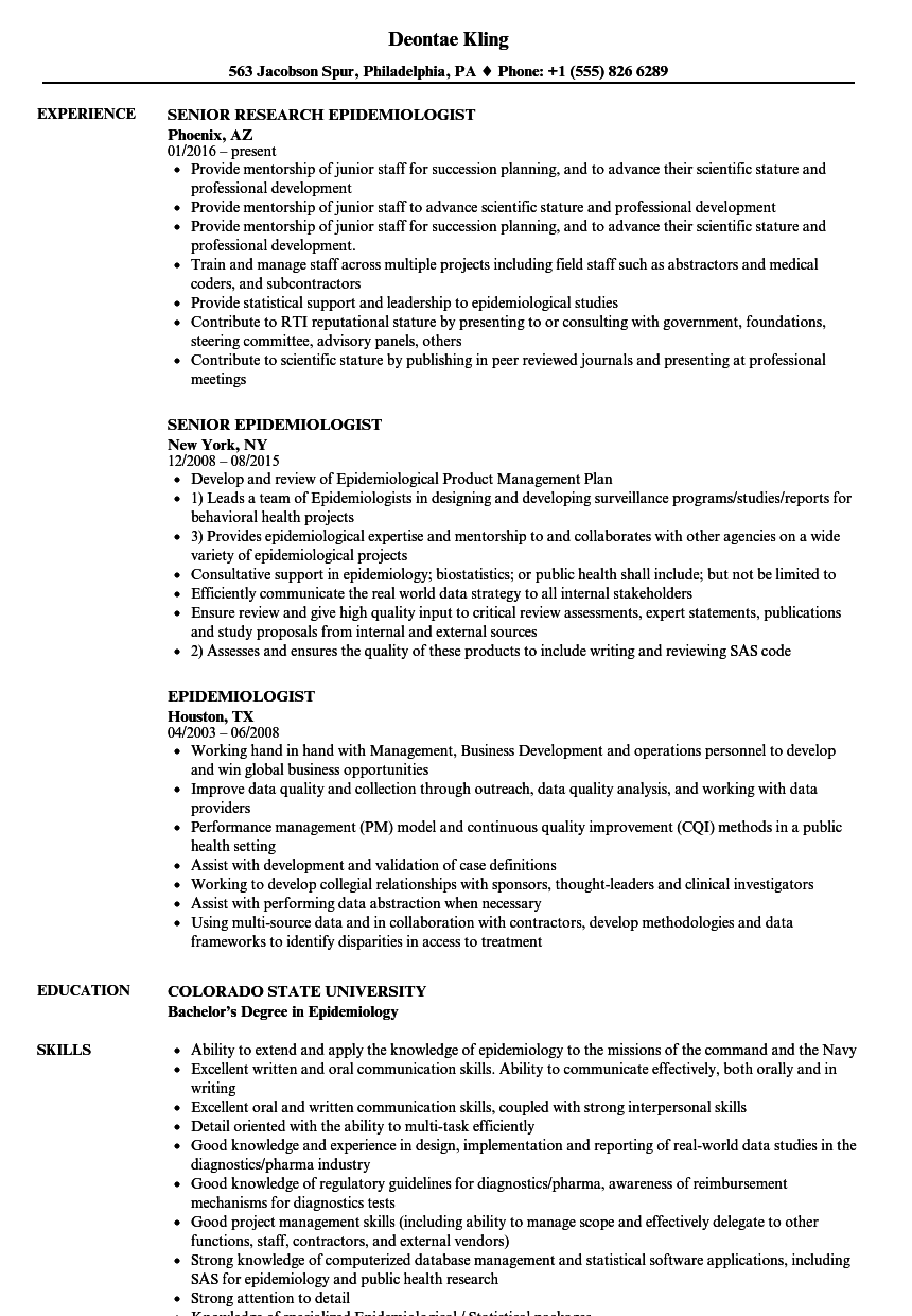 epidemiologist resume samples