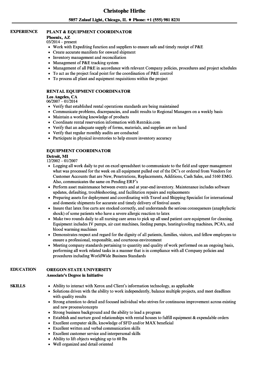 equipment coordinator resume samples