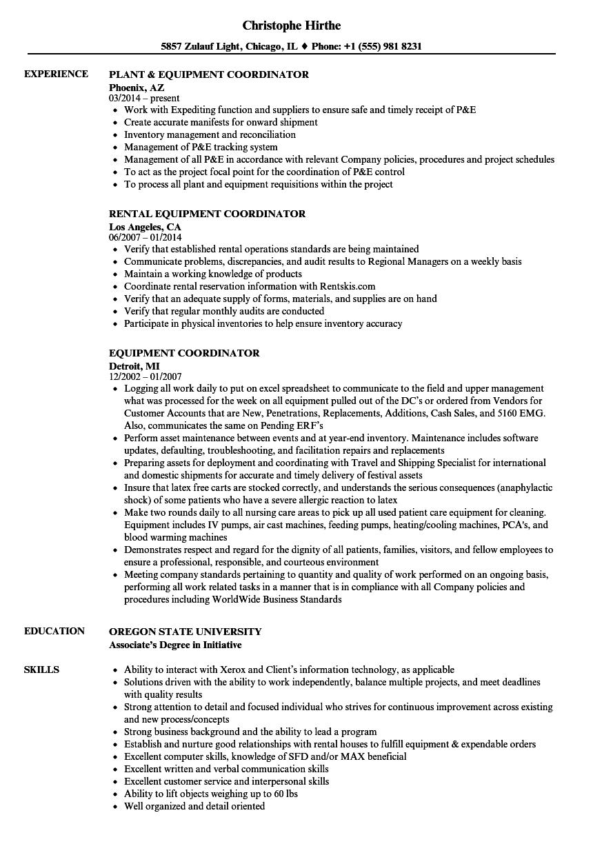 equipment coordinator resume samples velvet jobs