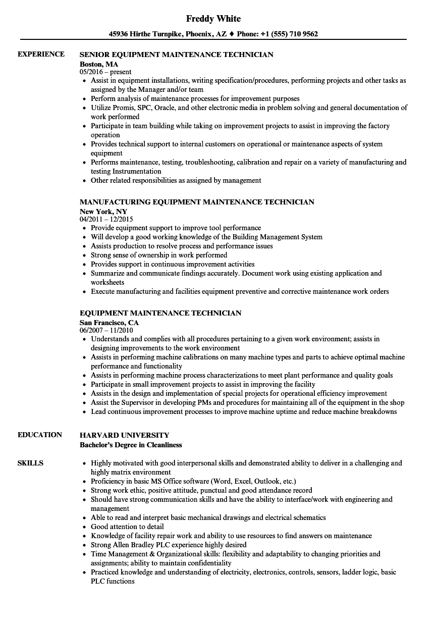 Download Equipment Maintenance Technician Resume Sample As Image File