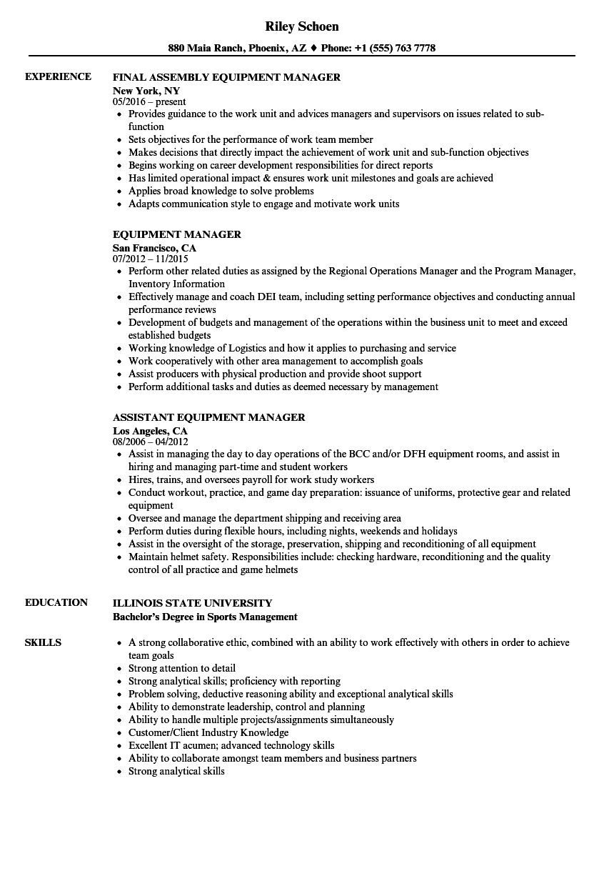 Equipment Manager Resume Samples Velvet Jobs