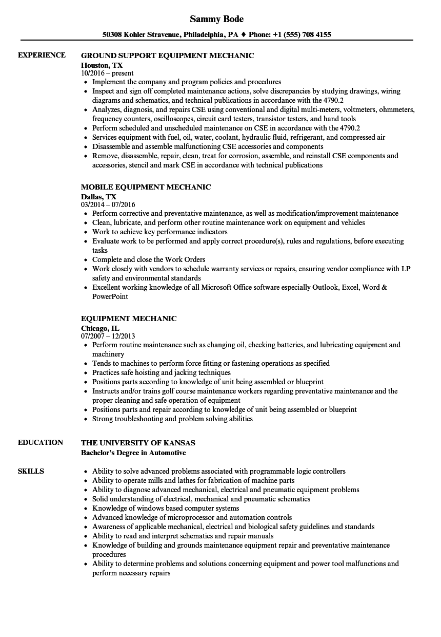 equipment mechanic resume samples
