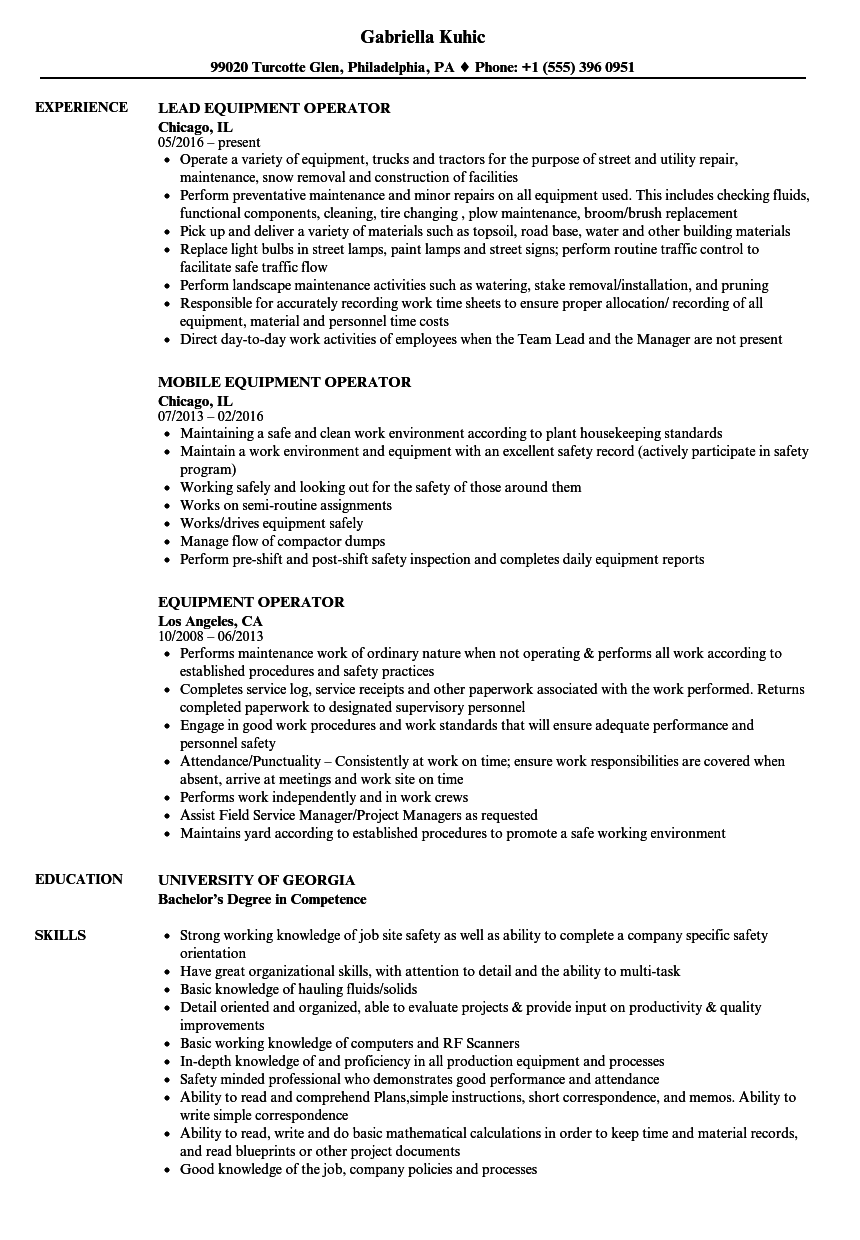 Equipment Operator Resume Samples | Velvet Jobs