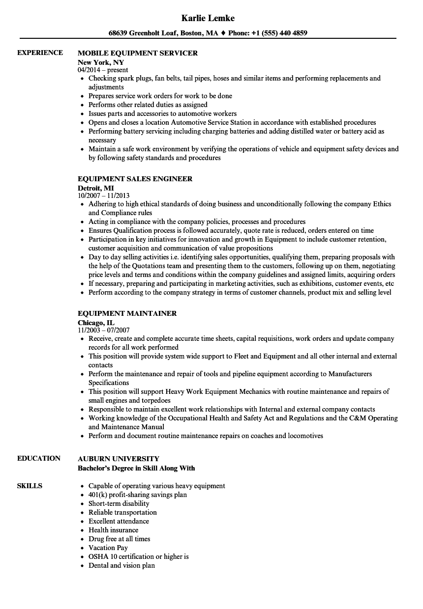 Equipment Resume Samples | Velvet Jobs