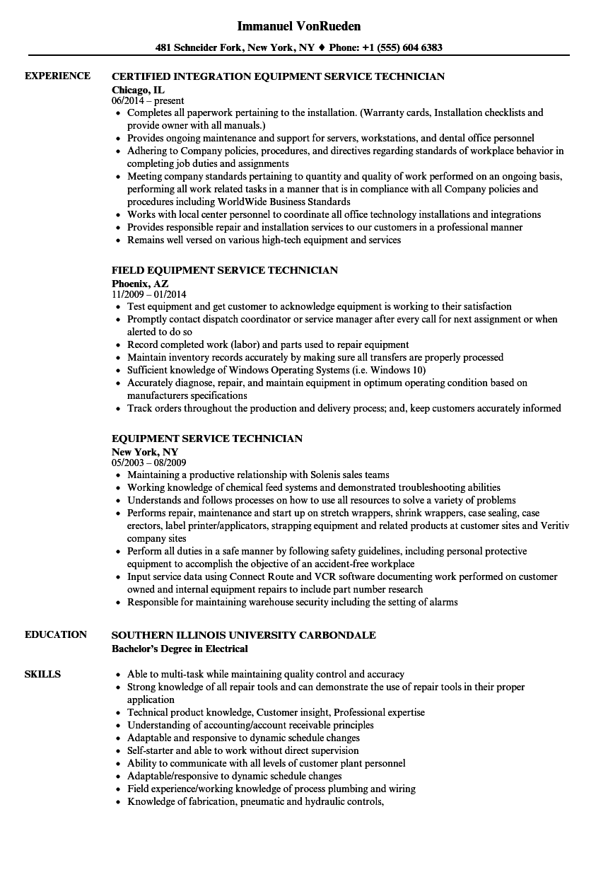 Equipment Service Technician Resume Samples | Velvet Jobs