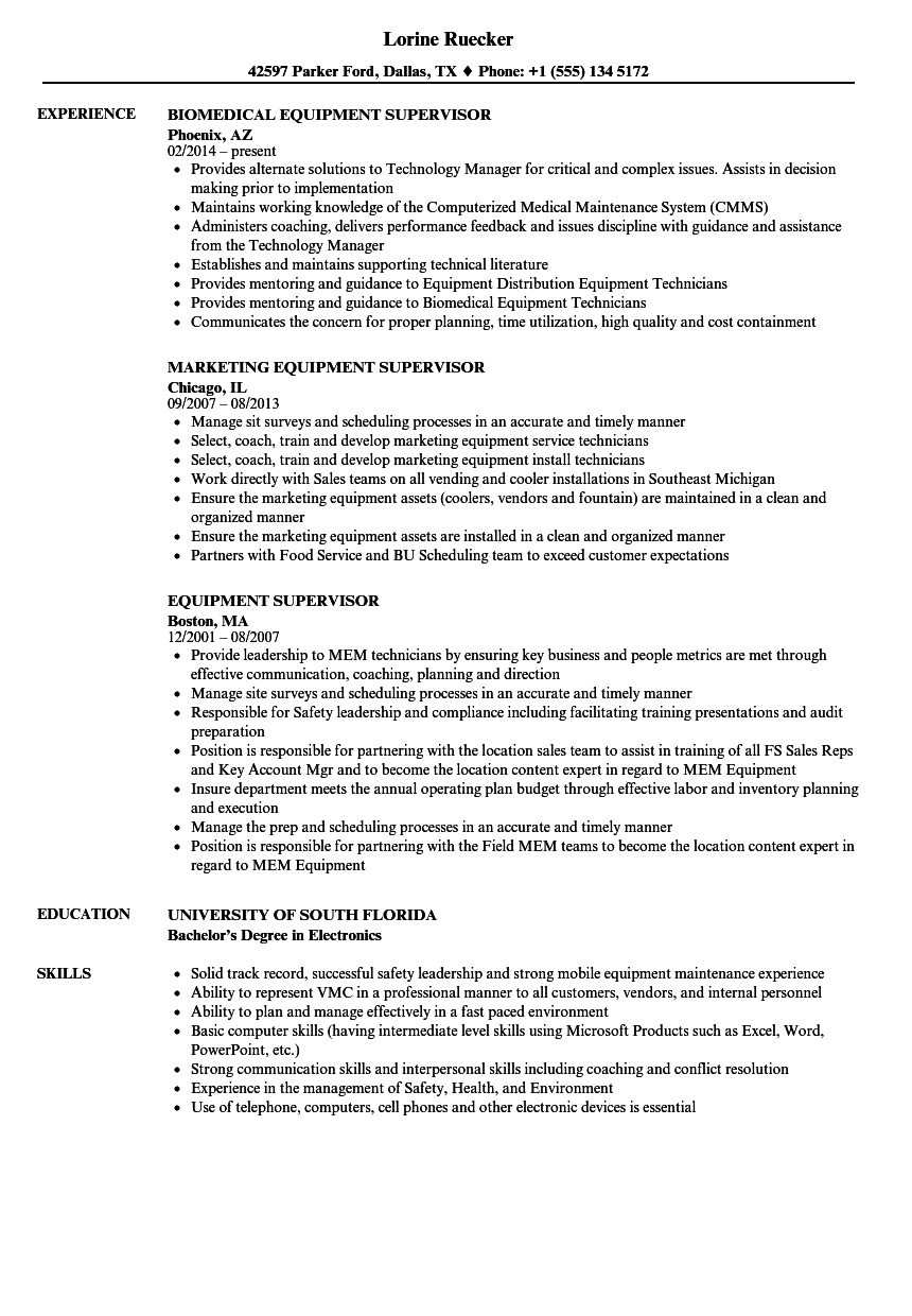 Equipment Supervisor Resume Samples | Velvet Jobs