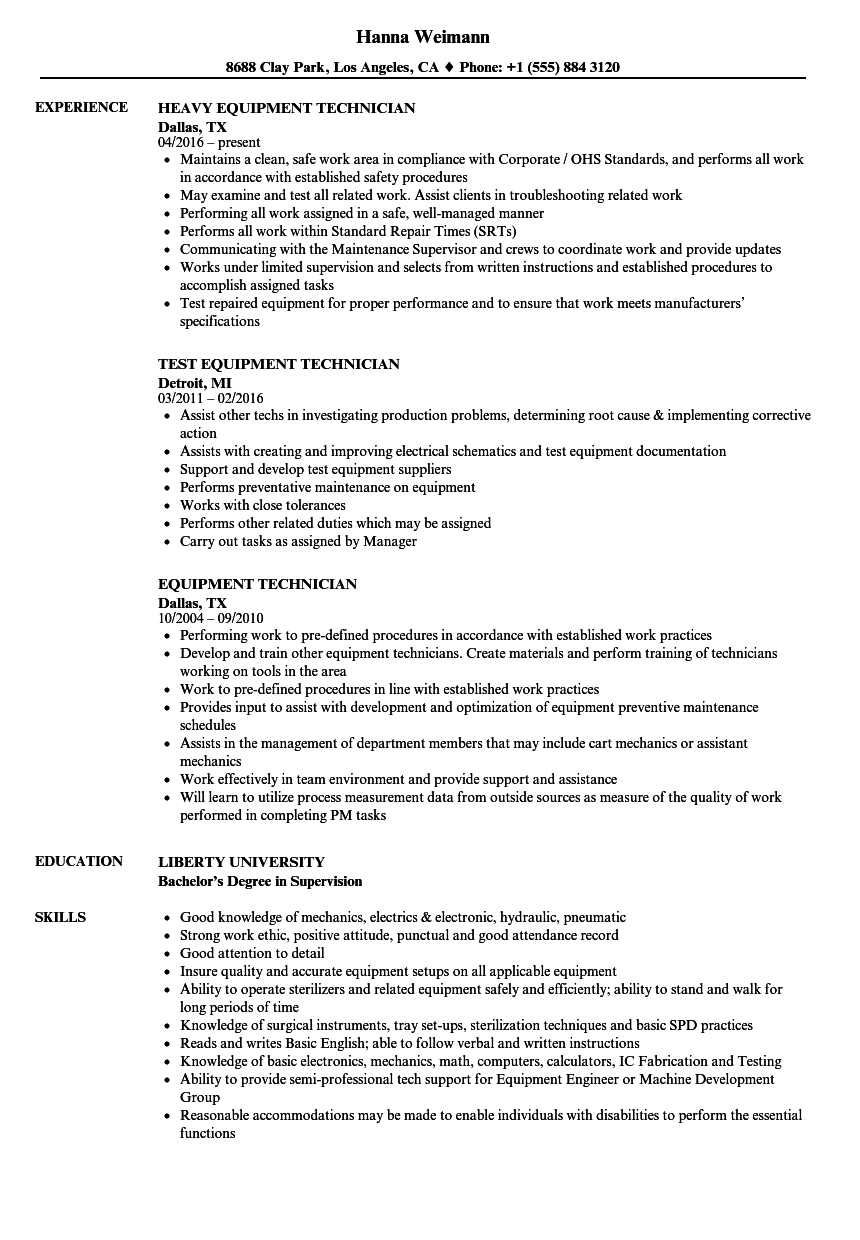 Equipment Technician Resume Samples | Velvet Jobs