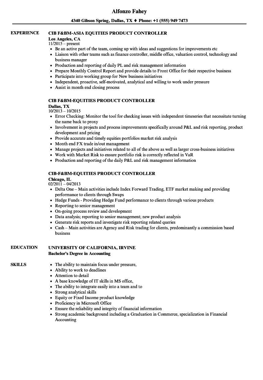 resume financial controller
