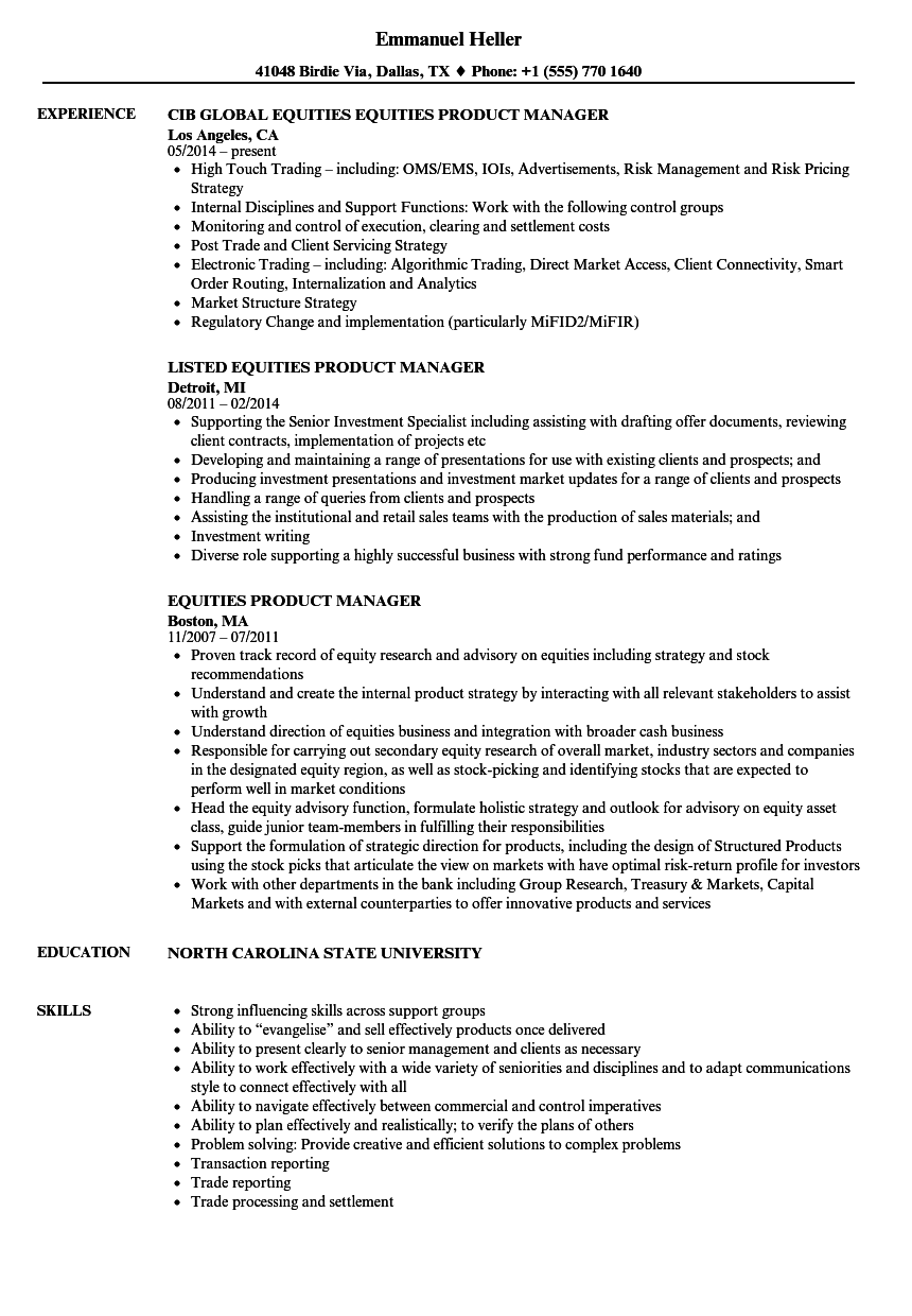 download equities product manager resume sample as image file product manager resume examples - Junior Product Manager Resume