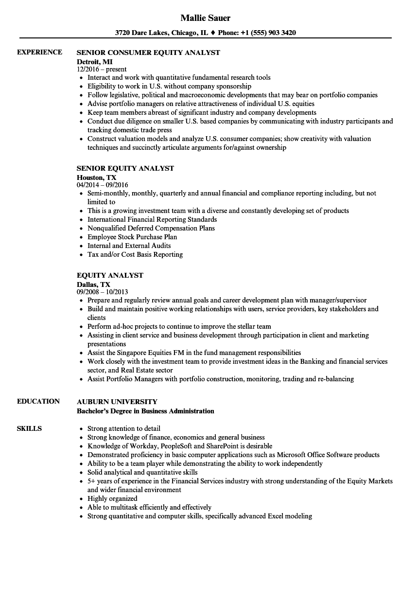 Velvet Jobs  Equity Analyst Resume