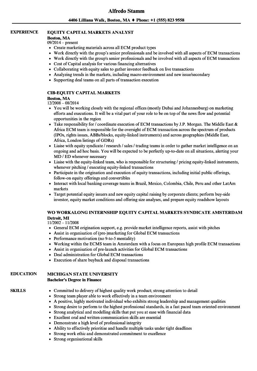 resume Equity Capital Markets Resume equity capital markets resume samples velvet jobs download sample as image file