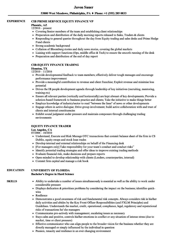 equity finance resume samples