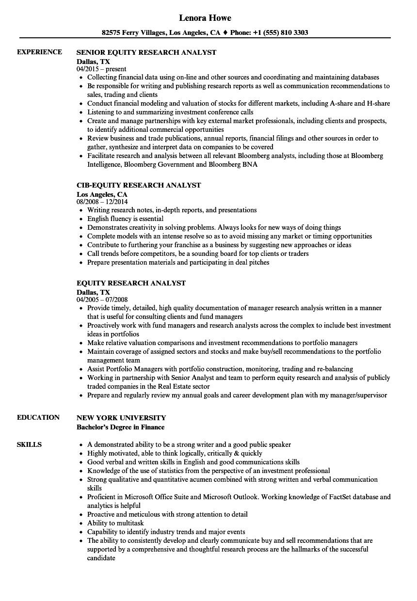 equity research analyst resume samples velvet jobs