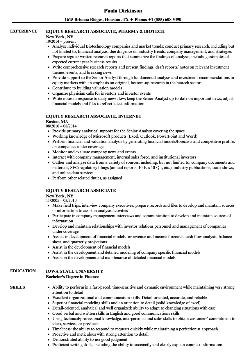 equity research associate resume samples velvet jobs