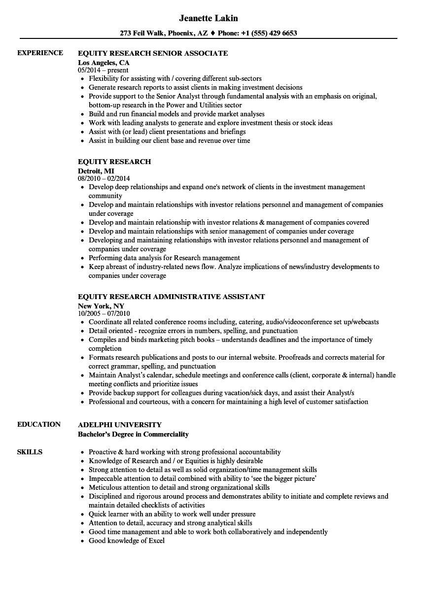 Related Job Titles Equity Research Associate Resume Sample