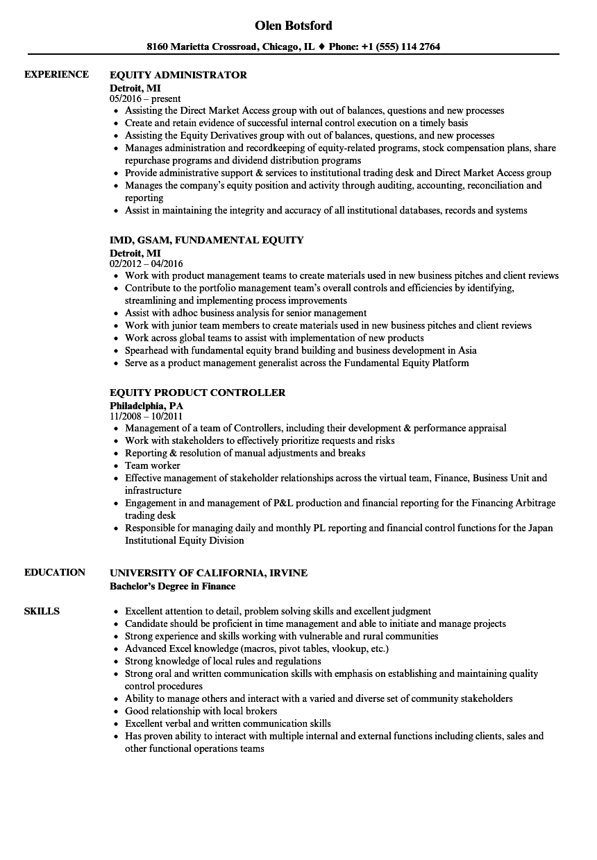 equity resume samples