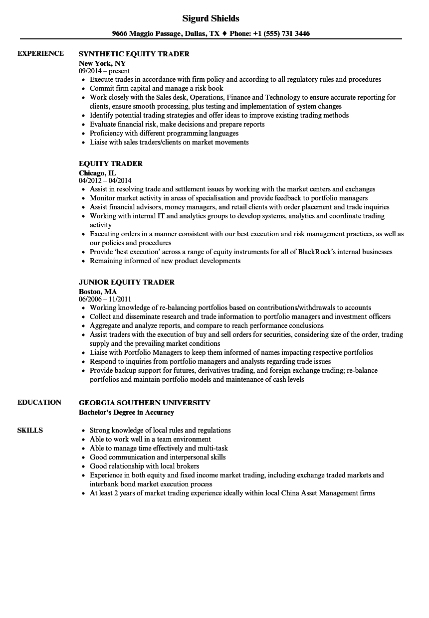 equity trader resume samples
