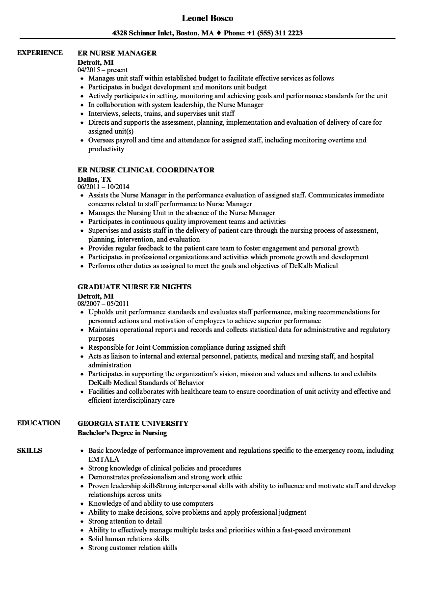 ER Nurse Resume Samples Velvet Jobs