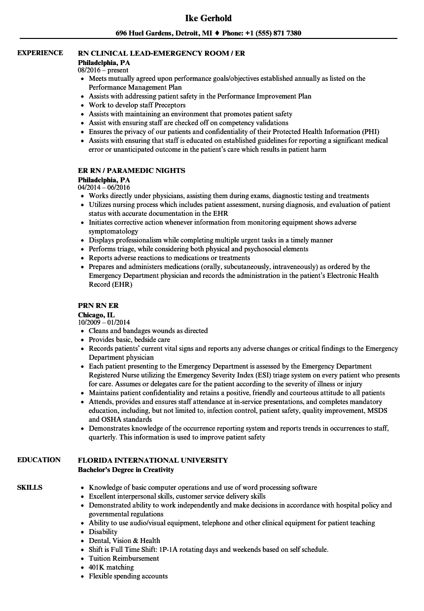 Er Rn Resume Samples | Velvet Jobs