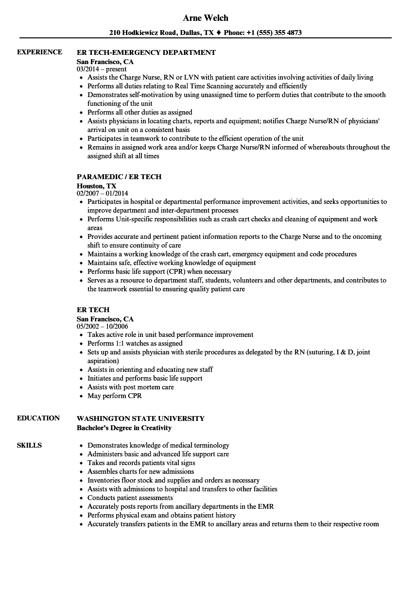Er Tech Resume Samples Velvet Jobs