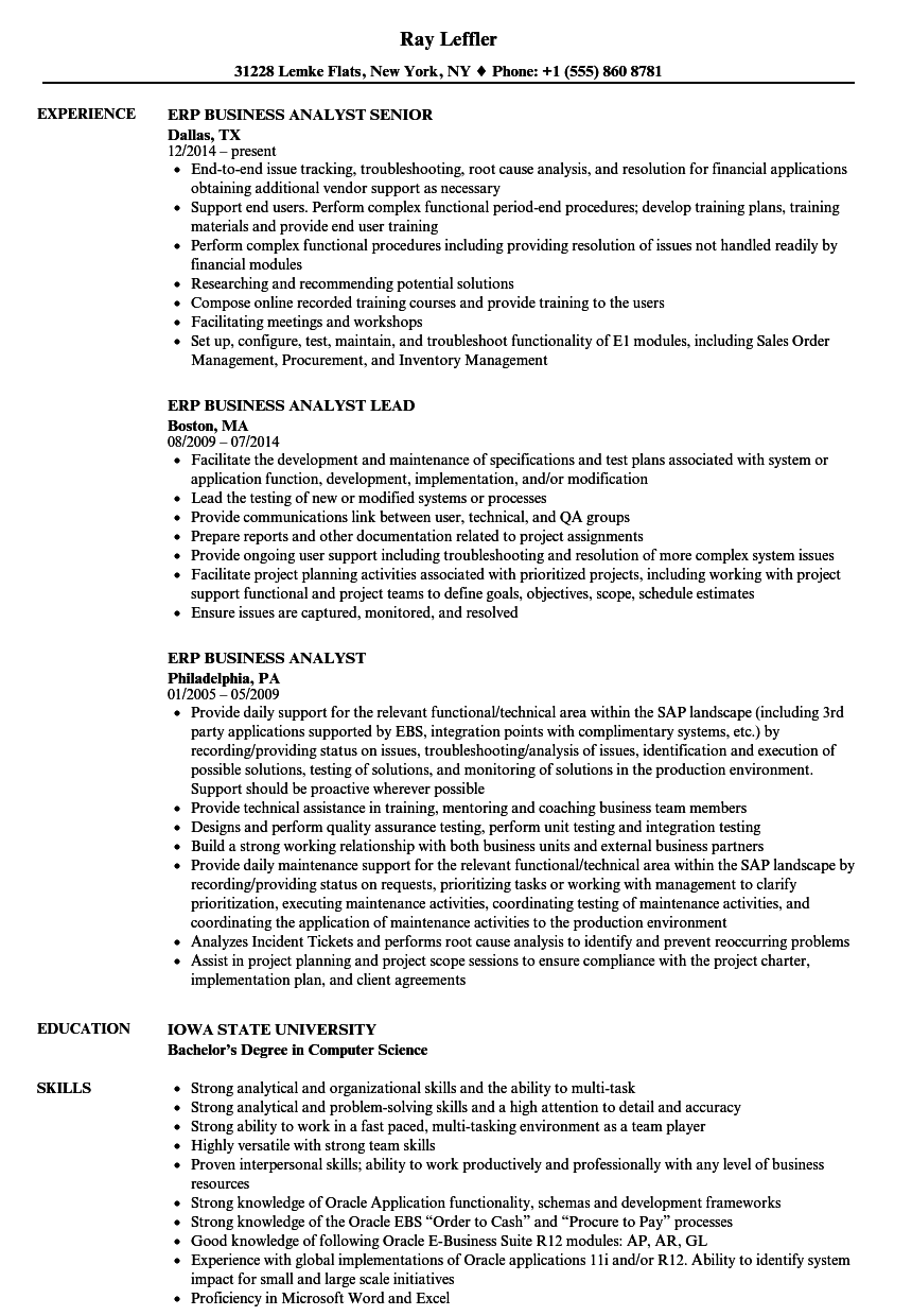 erp business analyst resume samples