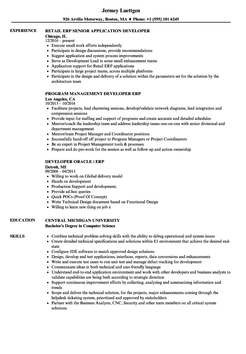 Erp Developer Resume Samples Velvet Jobs