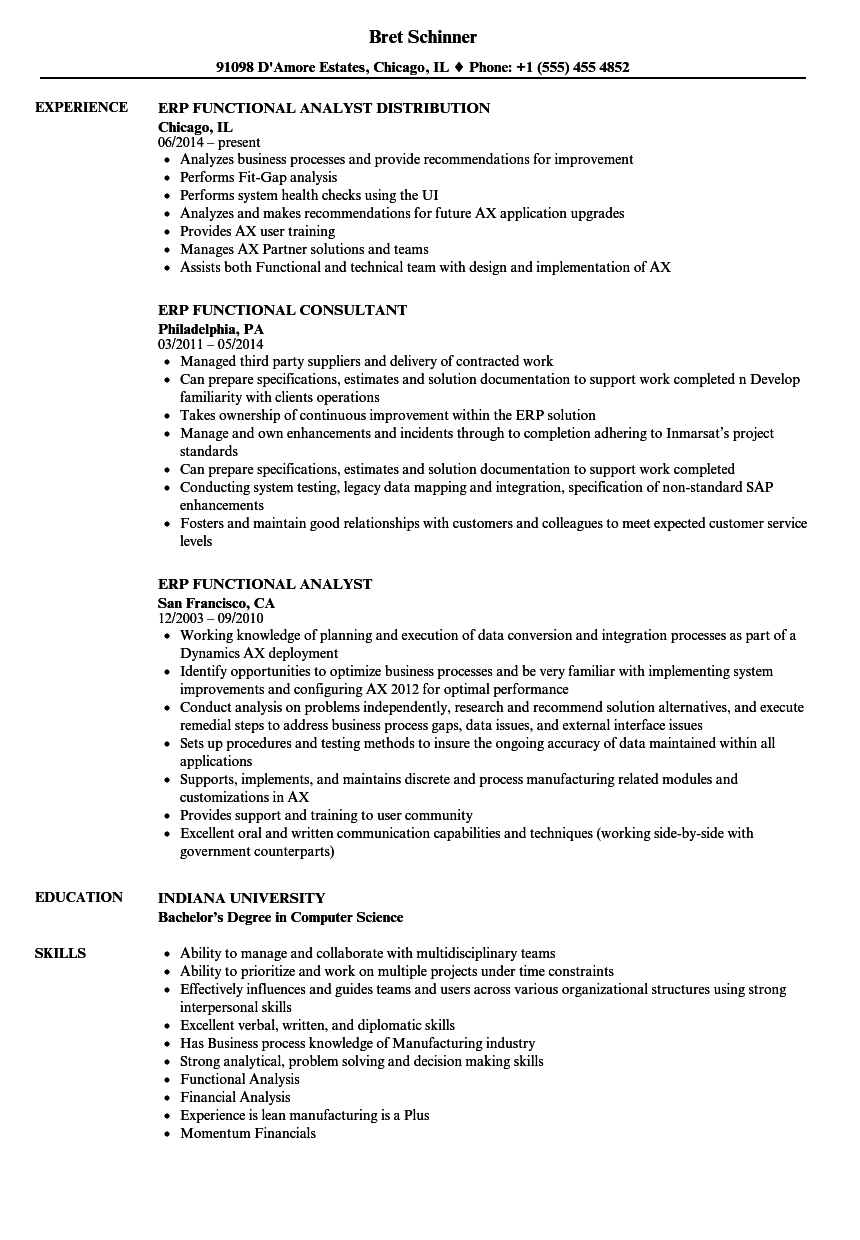 ERP Functional Resume Samples | Velvet Jobs
