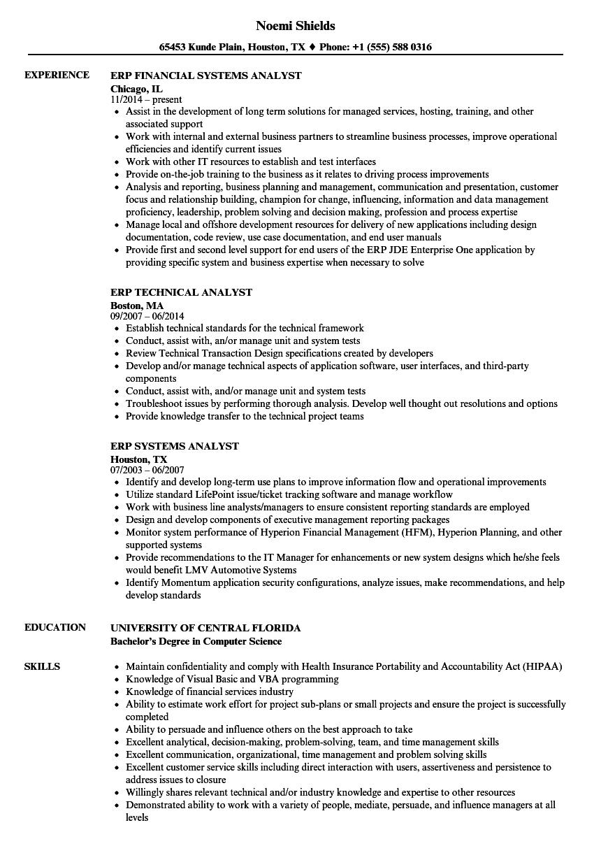 erp resume samples