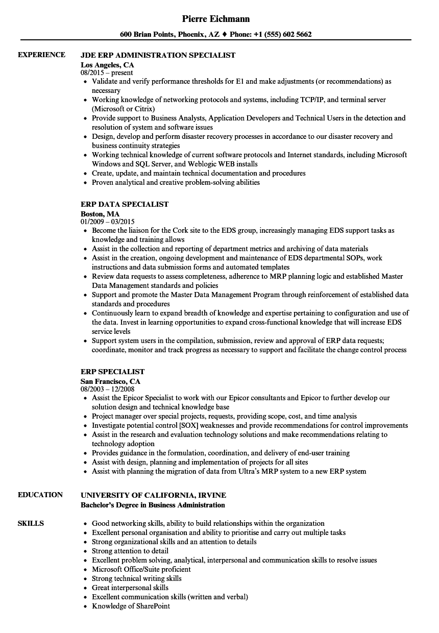 Erp Specialist Resume Samples Velvet Jobs