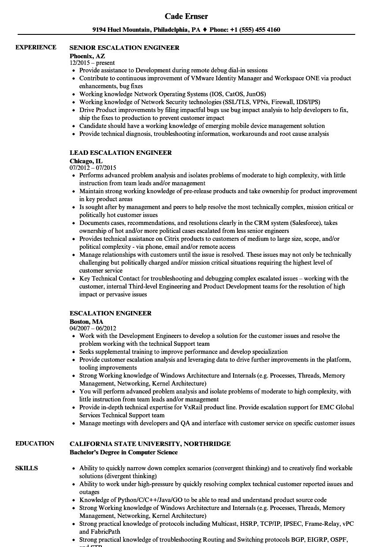 escalation engineer resume samples velvet jobs