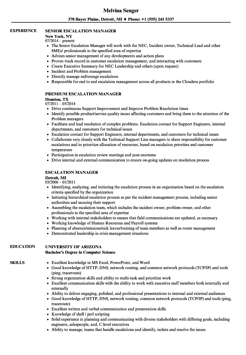 escalation manager resume sles velvet