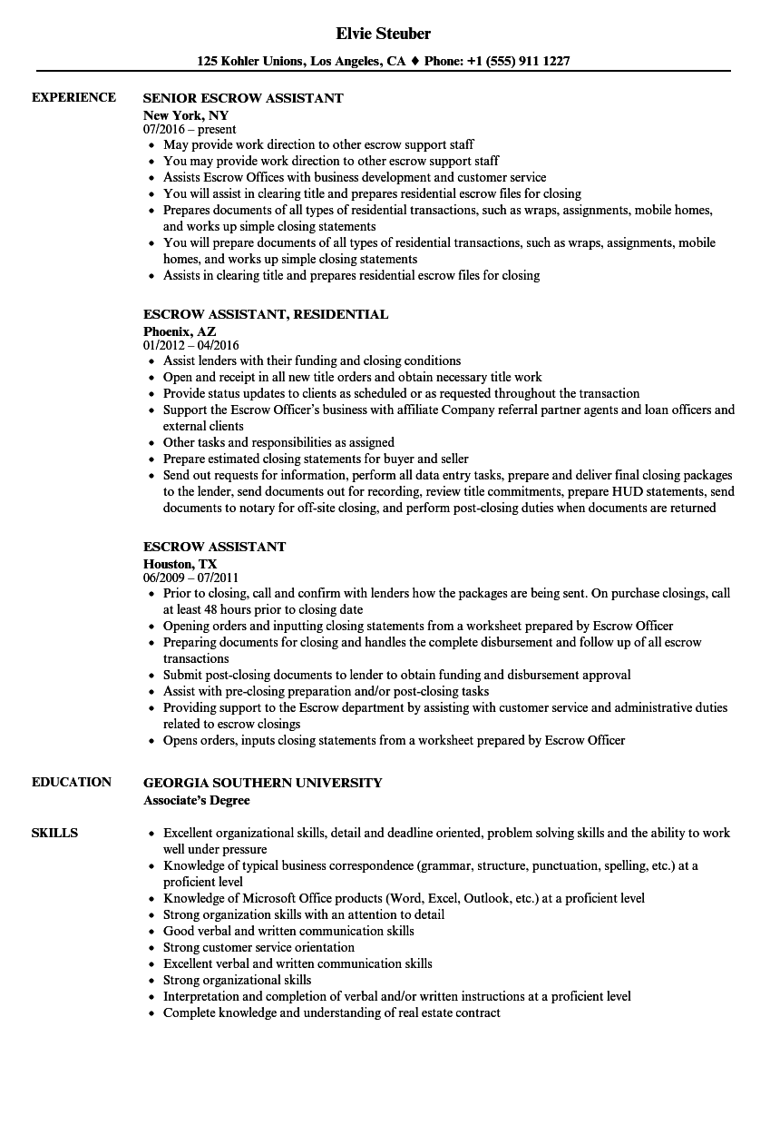 Escrow Assistant Resume Samples Velvet Jobs